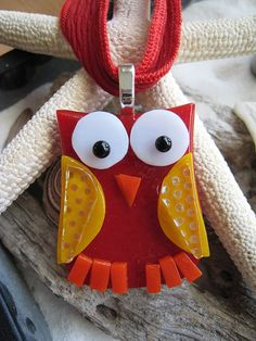Fused glass OWL Pendant w/ matching silk ribbon One by SilviaEngel