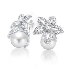 9mm South Sea Shell Pearl Pave Flower Bridal Earrings