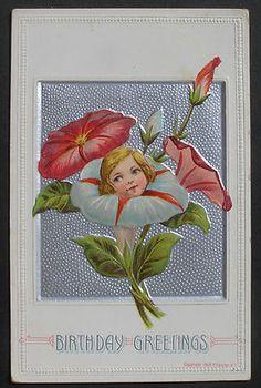 Vintage flower face card