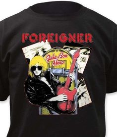 8aa17c4af76 Foreigner T-Shirt Juke Box Hero retro 80 s rock concert printed cotton tee   Foreigner