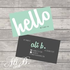 Hello Business Card Design Printable by ALiBink on Etsy, $15.00