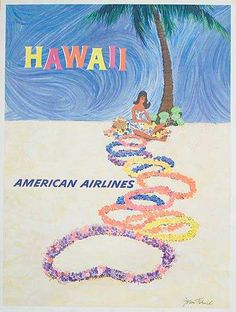 Hawaii, American Airlines - vintage travel poster