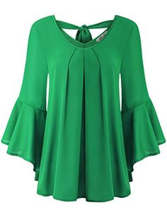 Finice Green Blouse Womens Scoop Neck High Waist Spring Blouse Simple Elegant Latest 3 4 Bell Sleeve Drape Curved Hem Solid Dressy Top Office Work Shirt Green XL >>> Visit the image link more details. (This is an affiliate link)