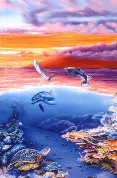 Diver's Dream ~ Belinda Leigh Dolphin Art, Sea Life Art, Underwater Art, Bottlenose Dolphin, Water Animals, Animal Drawings, Animal Illustrations, Moon Art, Ocean Waves