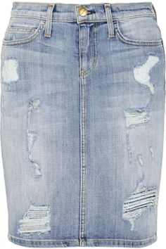 Current/Elliott|The Stiletto distressed stretch-denim pencil skirt|NET-A-PORTER.COM