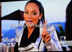 """On the season finale of """"Basketball Wives Miami"""" Evelyn Lozada treated her girls Suzie and Tami to a champagne toast to thank them for their support in. Miami Fashion, Fashion Tv, Evelyn Basketball Wives, Evelyn Lozada, She Girl, Reality Tv, Moto Jacket, Bombshells, Metallic"""