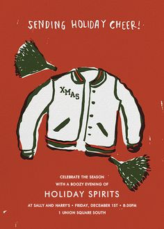 Holiday Cheerleader by Egg Press for Paperless Post. Send custom online holiday party invitations with our easy-to-use design tools and RSVP tracking. View more holiday invitations on paperlesspost.com. #cheer #cheerleader #christmas #xmas #jacket