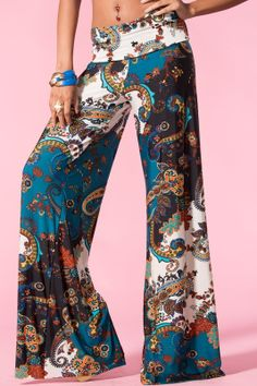 Fold Over Waist Wide Leg Paisley Teal Print Tall Yoga Palazzo Pants Bohemian Mode, Boho Chic, Bohemian Pants, Boho Fashion, Fashion Outfits, Womens Fashion, Gypsy Style, My Style, Böhmisches Outfit