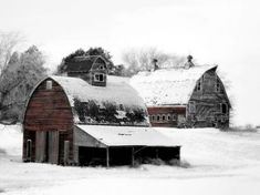 A Pair of Barns In The Snow.... (63 pieces)