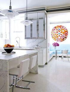 NICE MARBLE WITH FLOOR - NEEDS WARMTH | Modern Kitchen by David Kleinberg Design Associates via @Architectural Digest #designfile
