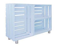 Estantería horizontal en madera de pino, azul - 25,5x98 cm