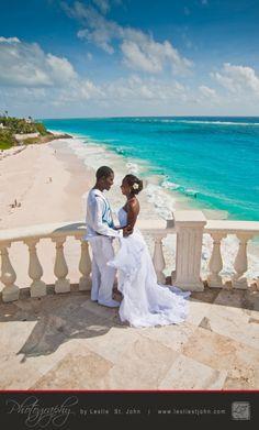 Yeah it's a cliche but you just gotta have the classic Crane shot. http://www.lesliestjohn.com #Barbados #TheCrane #Wedding #Caribbean #bride #Groom
