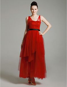Tulle Satin A-line Straps Ankle-length Evening Dress inspired by Mila Kunis at Emmy Award - CAD $ 163.07