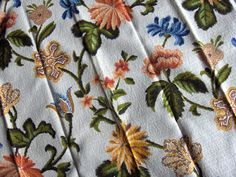 VINTAGE BARK CLOTH CURTAINS DRAPES Lot 4 Pairs Pinch Pleat Blue Orange Floral