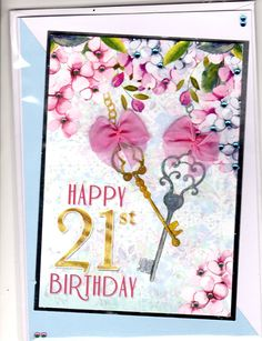 21st Birthday card using Hunkydory little book topper, Keys and flowers