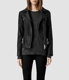 Womens Hemming Leather Biker Jacket (Black) - product_image_alt_text_1