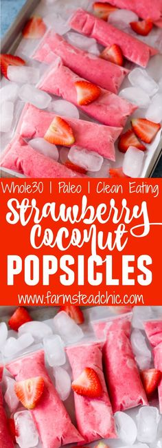 These Paleo Strawberry Coconut Popsicles are the perfect summer treat. Made with Whole30-compliant ingredients like strawberries, coconut milk, pineapple juice and OJ, they are healthy yet incredibly tasty. Dairy free, vegan and vegetarian-friendly.
