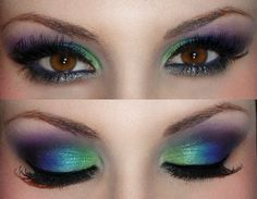 Peacock eye makeup. Chartreuse, blue and purple smoky eye shadow.