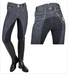 a445e6c8af72b HKM Miss Blink Denim Dressage High Waist Diamanté Bling Full Seat Breeches   HKM EBAY  105