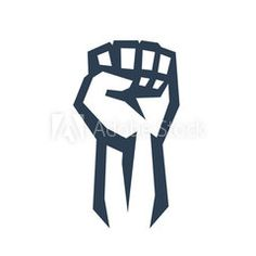 Fist held high in protest, vector illustration, eps10, easy to edit