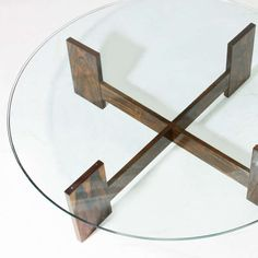 Brazilian Rosewood Coffee Table with Round Glass Top | From a unique collection of antique and modern coffee and cocktail tables at http://www.1stdibs.com/furniture/tables/coffee-tables-cocktail-tables/