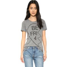 Chaser Besties 4Eva #1 Tee ($62) ❤ liked on Polyvore featuring tops, t-shirts, grey, jersey t shirts, jersey tee, crewneck t-shirt, crew neck t shirt and short sleeve tops
