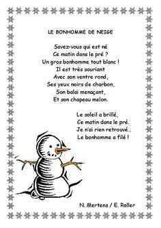 Poème du bonhomme de neige... ... French Poems, Education And Literacy, French Classroom, Shared Reading, 1st Grade Math, Teaching French, Preschool Kindergarten, Kids Songs, Winter