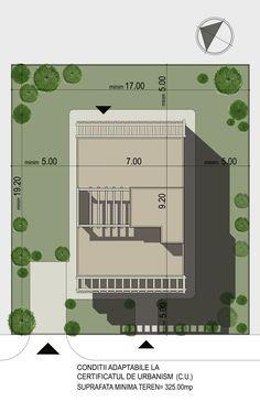 Casa moderna cu acoperis tip terasa- Plan de situatie Terrace Roof, Large House Plans, Large Homes, Modern Homes, Home Projects, Pergola, Floor Plans, How To Plan, Design