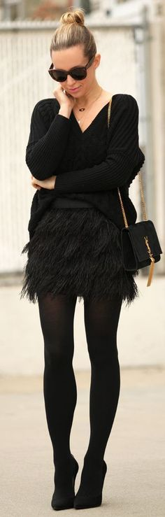 Sport that feather skirt with your favorite knits, tights and booties! You can wear this look to the office and to cocktail hour! Would you ladies wear this trend? What would you pair with this skirt?