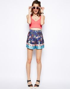 Image 1 ofASOS Silky Floral Short with Patchwork Border