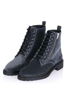 ASHTON Velvet Zip Ankle Boots - Shoes- Topshop USA