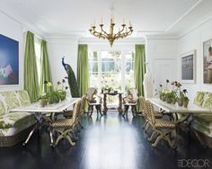 Luxury house Design 2014 - Love the shelves around the bed. This dining room is too good Interior Design This is a cool home design 34 Wonde. Green Curtains, Colorful Curtains, Blue Living Room Decor, Interior Decorating, Interior Design, Cool House Designs, Elle Decor, Home Design, Design Ideas