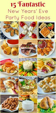 New Year's Eve Party Food, from Parmesan Pastry Sausage Rolls to great low fat dips and elegant cheese puffs, you're sure to find just the right nibbles for your party. #partyfood #newyearseve #christmasparty #fingerfood
