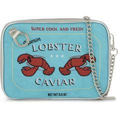 Skinny Dip Lobster caviar clutch featuring polyvore, women's fashion, bags, handbags, clutches, chain strap purse, chain strap handbag, metallic clutches, blue handbags and metallic purse