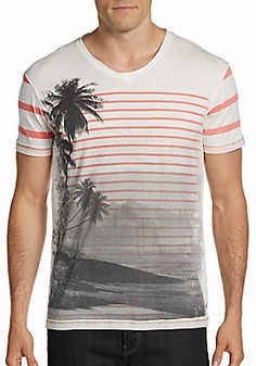 Striped Scenic Print Cotton Tee on shopstyle.com