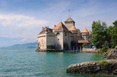 The Château de Chillon (Chillon Castle) is an island castle located on the shore of Lake Geneva
