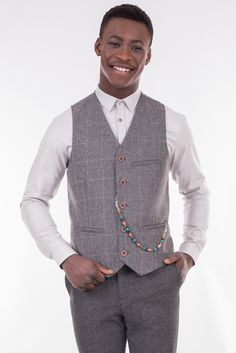 Slim Fit Checked Waistcoat In Wool