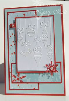 Embossed Christmas Card with snowflakes
