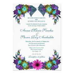 Teal Floral Wedding Invitation