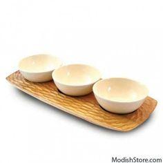 Enrico Mango Wood Honeycomb 3 Bowl server - Acacia – Modish Store