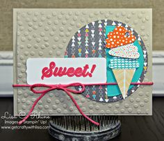 Get Crafty with Lisa:  Sweet Birthday for CCC08.  This birthday card features Stampin' Up!'s Bravo Stamp Set and Confetti Celebration Designer Series Paper, by Lisa Rhine, www.getcraftywithlisa.com