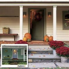 Front steps -->   before and after views of the main entry of this farmhouse remodel