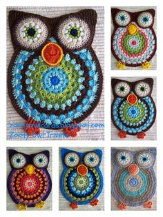 crochet owl ~ free pattern ᛡ with thick yarn and the solid would make a cute rug Owl Crochet Pattern Free, Cute Crochet, Crochet Motif, Crochet Crafts, Yarn Crafts, Crochet Flowers, Crochet Projects, Knit Crochet, Free Pattern