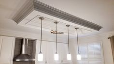 Coffered Waffle Ceiling Beams ideas, cost and pictures Accent Ceiling, Ceiling Trim, Ceiling Detail, Ceiling Panels, Ceiling Beams, Wall Trim, Kitchen Ceiling Lights, Kitchen Pendant Lighting, Kitchen Pendants