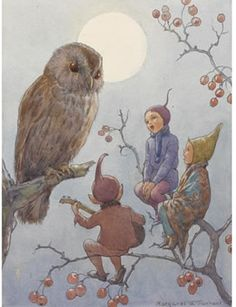 I like this image as it shows the raditional fantasy creatures talking and doing activities with Forrest animals
