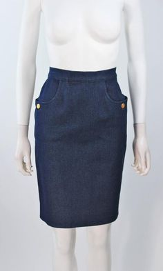 CHANEL Stretch Denim Skirt with Buttons 1975-99