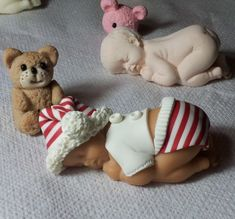 Pas à pas effet tissu rayé en porcelaine froide Baby Mold, Baby Cake Topper, Fondant Baby, Cake Fondant, Baby Shawer, Baby Fairy, Clay Baby, Cute Clay, Polymer Clay Dolls