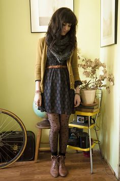 Cardigan, dress, patterned tights, boots! FALL!