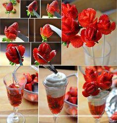 Comment faire des roses avec des fraises! - Trucs et Bricolages