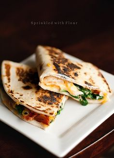 Cheesy Spinach and Bacon Quesadillas - A quick and easy dinner recipe   Sprinkled With Flour
